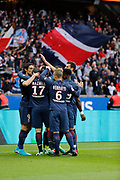 Edinson Roberto Paulo Cavani Gomez (psg) (El Matador) (El Botija) (Florestan) scored a goal and celebrated it with Maxwell Scherrer Cabelino Andrade (psg), Angel Di Maria (psg), Blaise Mathuidi (psg), Serge Aurier (psg), Marco Verratti (psg), Thiago Motta Santon Olivares (psg) during the French L1 football match between Paris-Saint-Germain and Montpellier HSC at Parc des Princes stadium in Paris, France on April 22, 2017 - Photo Stéphane Allaman / ProSportsImages / DPPI