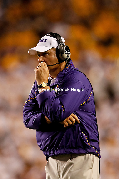 Sep 25, 2010; Baton Rouge, LA, USA; LSU Tigers head coach Les Miles on the field during the second half against the West Virginia Mountaineers at Tiger Stadium. LSU defeated West Virginia 20-14.  Mandatory Credit: Derick E. Hingle