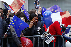 © Licensed to London News Pictures. 07/05/2017. Paris, France. Emmanuel Macron supporters wait outside En Marche! headquarters in Paris, France as exit polls suggest he has won the second round of the presidential election agaisnt the Front National's Marine Le Pen and he will be next president of France on Sunday, 7 May 2017. Photo credit: Tolga Akmen/LNP