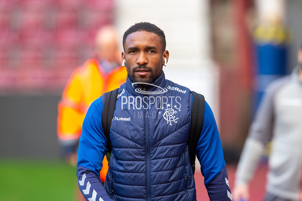 Jermain Defoe (#9) of Rangers FC arrives before the Ladbrokes Scottish Premiership match between Heart of Midlothian and Rangers FC at Tynecastle Park, Edinburgh, Scotland on 20 October 2019.