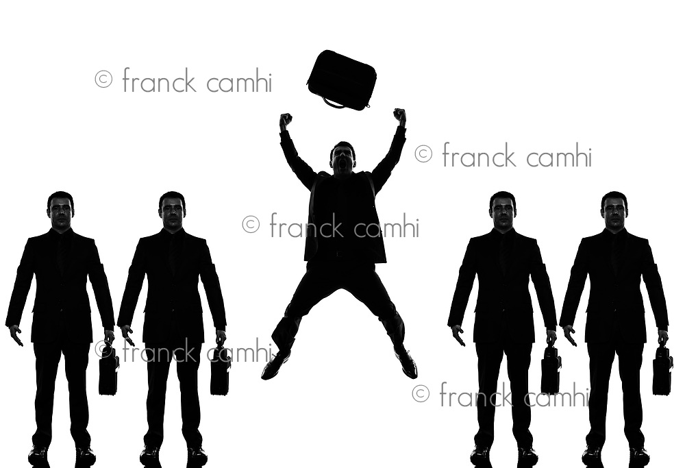 business man people standing in a row triumphant in silhouette shadow withe background