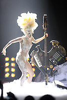 """LADY GAGA <br />International: Breakthrough Act,<br /> best Album 'The Fame' & Female Solo Artist Winner (2010)<br />This was always going to be a difficult night for Lady Gaga as her good friend Alexander McQueen had passed away six days previously, and needless to say she dedicated her performance to the fashion designer declaring emotionally: """"This is for Alexander McQueen."""" Wearing an incredible Philip Treacy hat, she started off with a poignant, acoustic performance of Telephone before leading into her stunning rendition of Dancing In The Dark.<br /> 16 Feb, 2010 (Photo John Marshall/JM Enternational)"""
