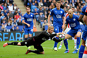 Leicester City goalkeeper Kasper Schmeichel (1) captures the ball during the Premier League match between Leicester City and Stoke City at the King Power Stadium, Leicester, England on 1 April 2017. Photo by Jon Hobley.