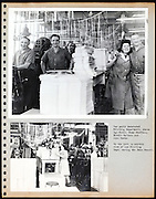 page from a photo album with factory workers USA 1945