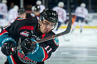 KELOWNA, CANADA - SEPTEMBER 22: Erik Gardiner #11 of the Kelowna Rockets warms up with a shot on net against the Kamloops Blazers  on September 22, 2018 at Prospera Place in Kelowna, British Columbia, Canada.  (Photo by Marissa Baecker/Shoot the Breeze)  *** Local Caption ***