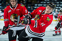 KELOWNA, CANADA - APRIL 8: Jake Gricius #14 of the Portland Winterhawks warms up with a shot on net against the Kelowna Rockets on April 8, 2017 at Prospera Place in Kelowna, British Columbia, Canada.  (Photo by Marissa Baecker/Shoot the Breeze)  *** Local Caption ***