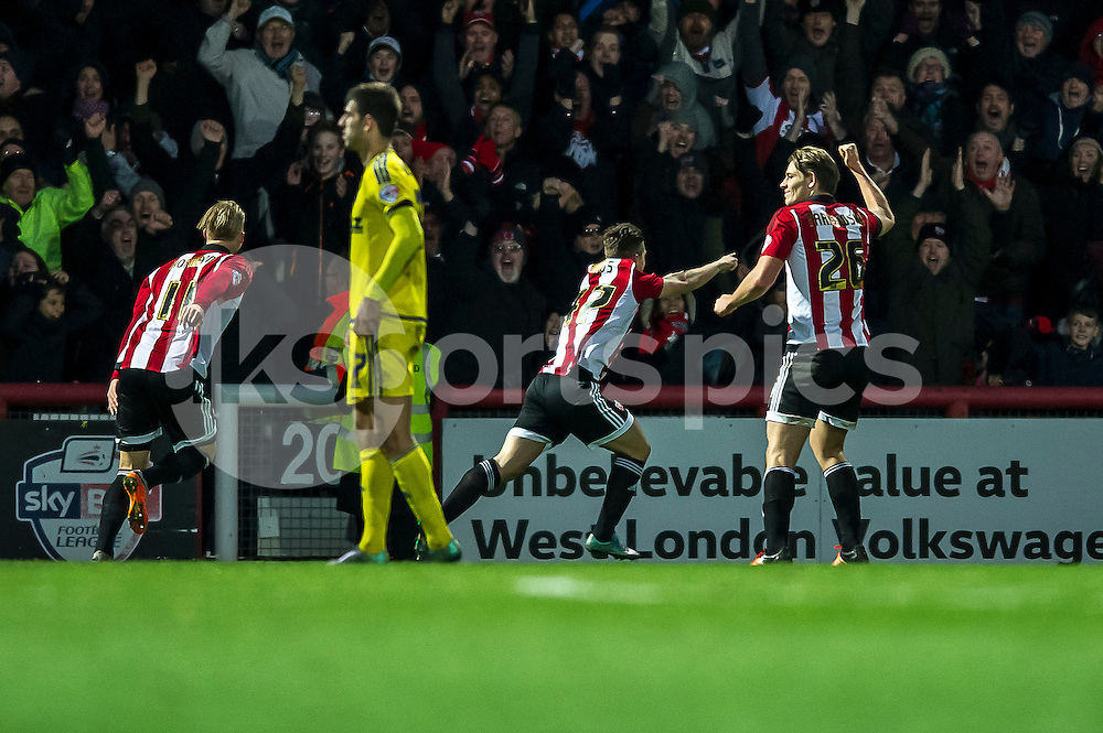 Sergi Canós of Brentford celebrates his goal during the Sky Bet Championship match between Brentford and Nottingham Forest at Griffin Park, London, England on 21 November 2015. Photo by Salvio Calabrese.