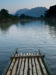 Asia, Vietnam, Pu Luong Nature Reserve, bamboo raft on the Cham River