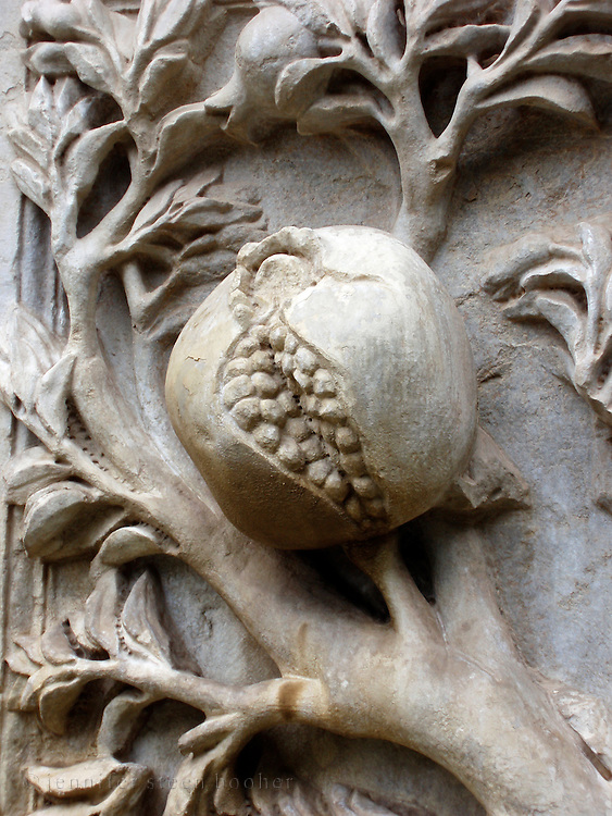 Carved stone pomegranate, Granada, Spain