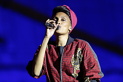 French singer Imany (Nadia Mladjao) performs live during 'Palais en Jazz' Festival in the courtyard of Palais Imperial, on June 29, 2018 in Compiegne, France. Photo by Edouard Bernaux/ABACAPRESS.COM