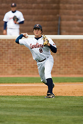 Virginia Cavaliers infielder Patrick Wingfield (8) throws to first base on a routine ground ball.  The Virginia Cavaliers Baseball team defeated the Duke Blue Devils 8-1 in the final game of a three game series at Davenport Field in Charlottesville, VA on April 8, 2007. The win secured a 2-1 series victory over the Blue Devils.