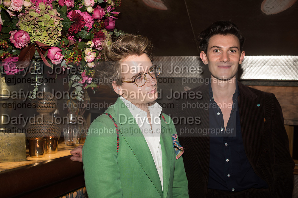LUKE EDWARD HALL; DUNCAN CAMPBELL;  spotted at Bloom & Wild's exclusive event at 5 Hertford Street last night. 5 September 2017. The event was announcing the new partnership between the UK's most loved florist, Bloom & Wild and British floral design icon Nikki Tibbles Wild at Heart. Cocooned in swaths of vibrant Autumn blooms, guests enjoyed floral-inspired cocktails from Sipsmith and bubbles from Chandon, with canapés put on by 5 Hertford Street. Three limited edition bouquets from the partnership can be bought through Bloom & Wild's website from the 1st September.  bloomandwild.com/WAH