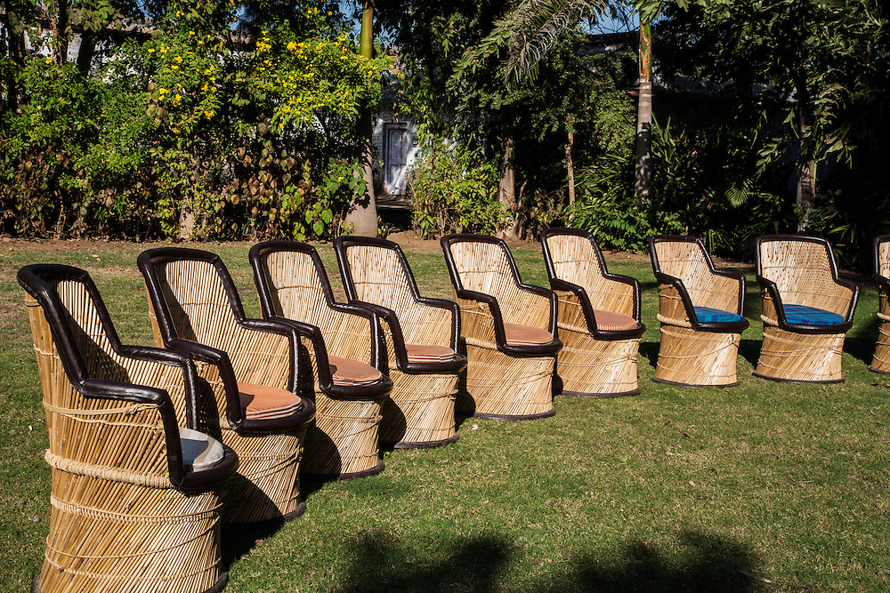On the lawn at Jambughoda Palace, near Champaner, Gujarat, India.<br />