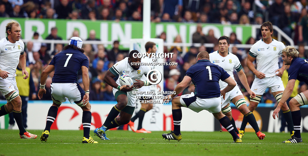 NEWCASTLE UPON TYNE, ENGLAND - OCTOBER 03: Tendai Mtawarira of South Africa during the Rugby World Cup 2015 Pool B match between South Africa and Scotland at St James Park on October 03, 2015 in Newcastle upon Tyne, England. (Photo by Steve Haag/Gallo Images)