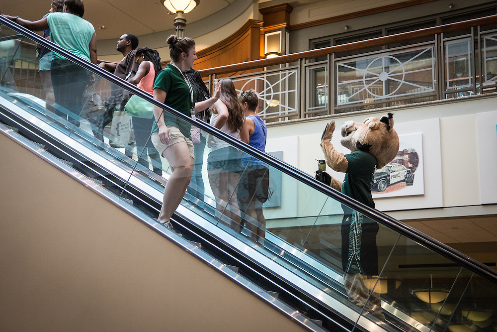 Rufus waves to current and new Bobcats in Baker Center during Bobcat Student Orientation on Friday, June 5, 2015.  Photo by Ohio University  /  Rob Hardin