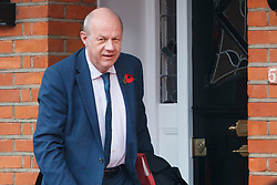 """© Licensed to London News Pictures. 06/11/2017. London, UK. First Secretary of State DAMIAN GREEN seen leaving his London home, following allegations that """"extreme"""" pornography was found on his computer during a police raid in 2018. Green was already under investigation for allegedly propositioning a former Tory activist, Kate Maltby. Photo credit: Tolga Akmen/LNP"""