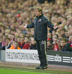 05.11.2011, Anfield Stadion, Liverpool, ENG, Premier League, FC Liverpool vs Swansea City, im Bild Liverpool's manager Kenny Dalglish looks dejected as his side are denied a goal against Swansea City  // during the premier league match between FC Liverpool vs Swansea City at Anfield Stadium, Liverpool, EnG on 05/11/2011. EXPA Pictures © 2011, PhotoCredit: EXPA/ Propaganda Photo/ David Rawcliff +++++ ATTENTION - OUT OF ENGLAND/GBR+++++