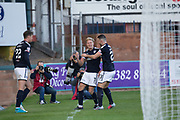 16th September 2017, Dens Park, Dundee, Scotland; Scottish Premier League football, Dundee versus St Johnstone; Dundee's A-Jay Leitch-Smith is congratulated by Randy Wolters after scoring his second goal to put Dundee 2-0 ahead