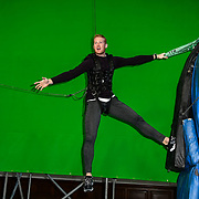 Greg Rutherford in his last ever Long Jump challenge British public challenged to attempt Tom Cruise's leap in Mission: Impossible - Fallout at The Lindley Hall on 30 November 2018, London, UK.