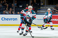 KELOWNA, CANADA - MARCH 13:  Kyle Topping #24 of the Kelowna Rockets skates against the Spokane Chiefs on March 13, 2019 at Prospera Place in Kelowna, British Columbia, Canada.  (Photo by Marissa Baecker/Shoot the Breeze)