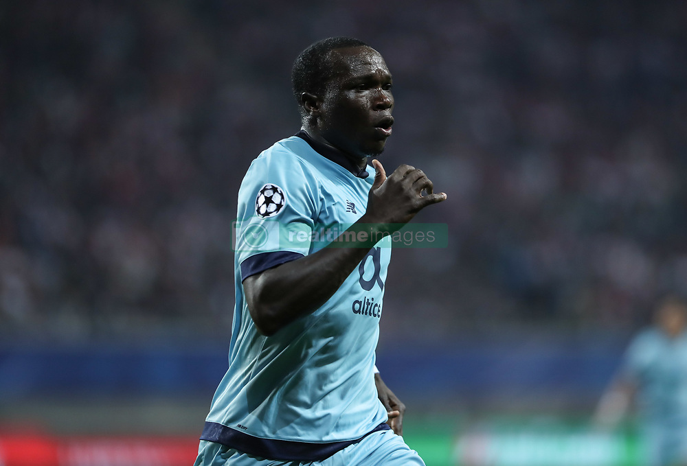 LEIPZIG, Oct. 18, 2017 Porto's Vincent Aboubakar celebrates after socring during a match of Group G of 2017-18 Champions League against Leipzig in Leipzig, Germany, on Oct. 17, 2017. Leipzig won 3-2. (Credit Image: © Shan Yuqi/Xinhua via ZUMA Wire)