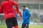 Lincoln City Manager Danny Cowley overseeing the Lincoln City players warm up prior to the EFL Sky Bet League 2 match between Lincoln City and Grimsby Town FC at Sincil Bank, Lincoln, United Kingdom on 17 March 2018. Picture by Craig Zadoroznyj.