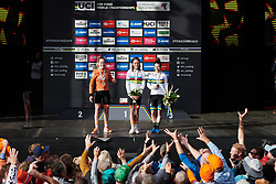 Anna van der Breggen (NED) throws her flowers into the crowd at UCI Road World Championships 2019 Women's Elite Road Race a 149.4 km road race from Bradford to Harrogate, United Kingdom on September 28, 2019. Photo by Sean Robinson/velofocus.com