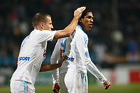 FOOTBALL - FRENCH CHAMPIONSHIP 2010/2011 - L1 - OLYMPIQUE MARSEILLE v AC ARLES - 05/02/2011 - PHOTO PHILIPPE LAURENSON / DPPI - JOY BENOIT CHEYROU (OM) AND BRANDAO (OM) AFTER ANDRE-PIERRE GIGNAC (OM) AFTER GOAL