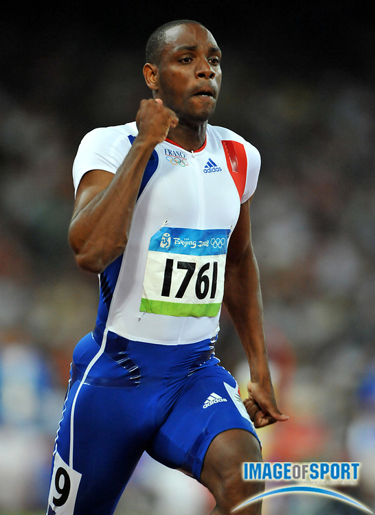 Aug 15, 2008; Beijing,CHINA; Ronald Pognon (FRA) finished fifth in 100m quarterfinal in 10.21 during the 2008 Beijing  Olympics athletics competition at National Stadium.
