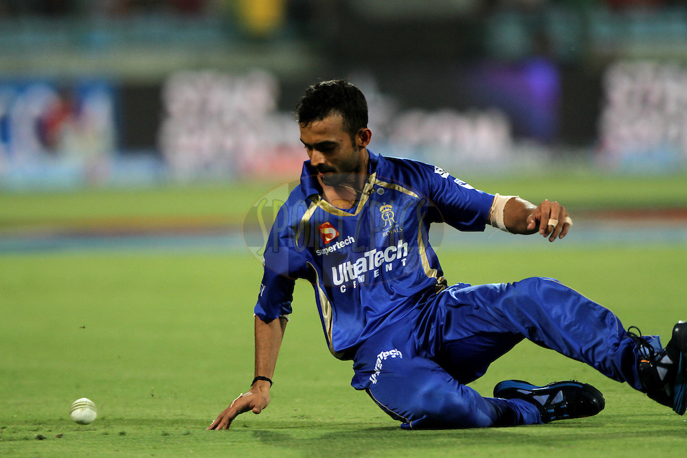 Ajinkya Rahane of the Rajatshan Royals during match 23 of the Pepsi Indian Premier League Season 2014 between the Delhi Daredevils and the Rajasthan Royals held at the Feroze Shah Kotla cricket stadium, Delhi, India on the 3rd May  2014<br /> <br /> Photo by Deepak Malik / IPL / SPORTZPICS<br /> <br /> <br /> <br /> Image use subject to terms and conditions which can be found here:  http://sportzpics.photoshelter.com/gallery/Pepsi-IPL-Image-terms-and-conditions/G00004VW1IVJ.gB0/C0000TScjhBM6ikg