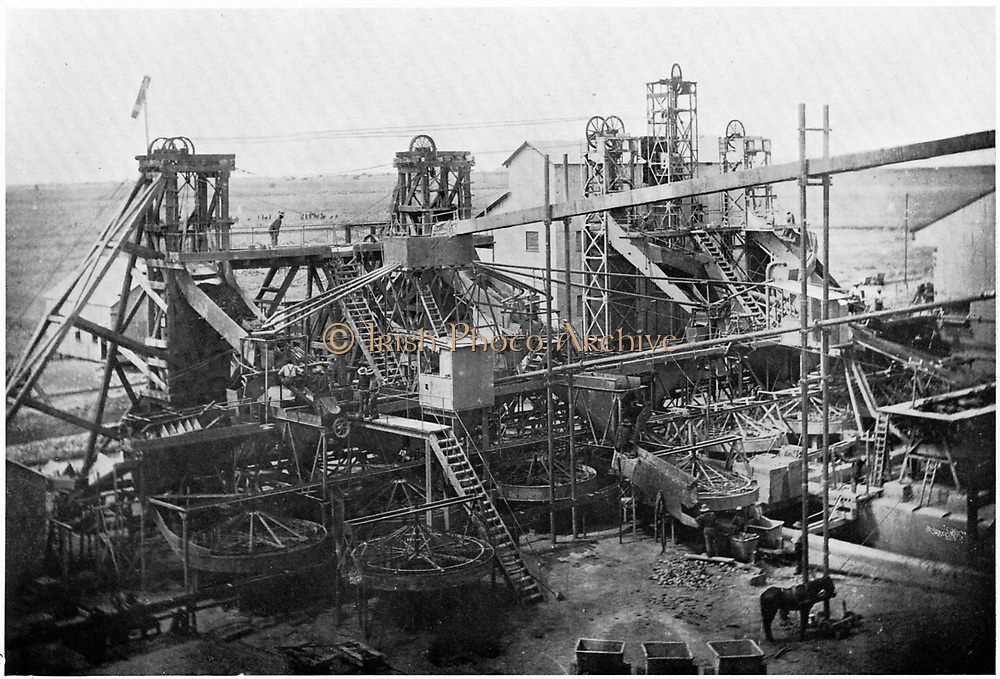 Washing plant at De Beers diamond  mines, Kimberley, c.1900. In 1887 and 1888 Cecil Rhodes amalgamated the diamond mines around Kimberley, which included De Beers, into Consolidated Mines.
