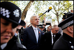 WikiLeaks founder Julian Assange leaves The High Court, London. Mr Assange has failed in his bid to stop his extradition to Sweden to face sexual assault allegations, Wednesday November 2, 2011 Photo By Andrew Parsons/ i-Images.