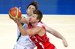 Erazem Lorbek of Slovenia vs Vladimer Boisa of Georgia during basketball match between National teams of Slovenia and Georgia in Group D of Preliminary Round of Eurobasket Lithuania 2011, on September 3, 2011, in Arena Svyturio, Klaipeda, Lithuania. Slovenia defeated Georgia 87-75. (Photo by Vid Ponikvar / Sportida)