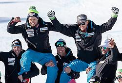 13.02.2017, St. Moritz, SUI, FIS Weltmeisterschaften Ski Alpin, St. Moritz 2017, alpine Kombination, Herren, Flower Zeremonie, im Bild v.l. Mauro Caviezel (SUI, Herren Alpine Kombination Bronzemedaille), Luca Aerni (SUI, Herren Alpine Kombination Weltmeister und Goldmedaille) auf den Schultern ihrer Betreuer // f.l. men's Alpine Combined Bronze medalist Mauro Caviezel of Switzerland men's Alpine Combined world Champion and Gold medalist Luca Aerni of Switzerland and his Coaches during the Flowers ceremony for the men's Alpine combination of the FIS Ski World Championships 2017. St. Moritz, Switzerland on 2017/02/13. EXPA Pictures © 2017, PhotoCredit: EXPA/ Johann Groder