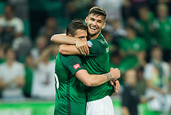 Leon Benko of NK Olimpija and Rok Kronaveter of NK Olimpija celebrate after Leon Benko of NK Olimpija scored third goal during football match between NK Aluminij and NK Olimpija Ljubljana in the Final of Slovenian Football Cup 2017/18, on May 30, 2018 in SRC Stozice, Ljubljana, Slovenia. Photo by Vid Ponikvar / Sportida