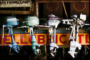 Antique outboard boat motors are lined up in an old barn in Nelson, Nevada. Colin Braley/Wild West Stock