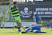 Forest Green Rovers midfielder Fabien Robert (26) is tackled 0-0 during the Vanarama National League match between Forest Green Rovers and North Ferriby United at the New Lawn, Forest Green, United Kingdom on 1 April 2017. Photo by Alan Franklin.