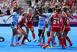 England's Lily Owsley celebrates scoring her sides first goal during the Vitality Women's Hockey World Cup pool B match at The Lee Valley Hockey and Tennis Centre, London.