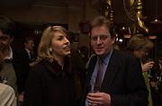 Aurora Gunn and Robert Hardman. Robert Hardman Telegraph goodbye party. Paparazzi Cafe. Hanover St. London W1. 11 January 2000. © Copyright Photograph by Dafydd Jones 66 Stockwell Park Rd. London SW9 0DA Tel 020 7733 0108 www.dafjones.com