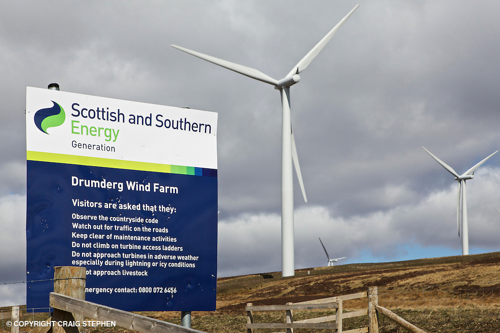Entrance to Scottish & Southern energy Drumderg wind farm in Perthshire, Scotland