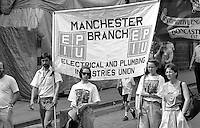 EPIU Manchester Branch banner. NUM Centenary Demonstration and Gala, Barnsley.