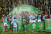 Manchester City lift the Carabao Cup and spray champagne in celebration as the streamers fall around them during the EFL Cup Final match between Arsenal and Manchester City at Wembley Stadium, London, England on 25 February 2018. Picture by Graham Hunt.