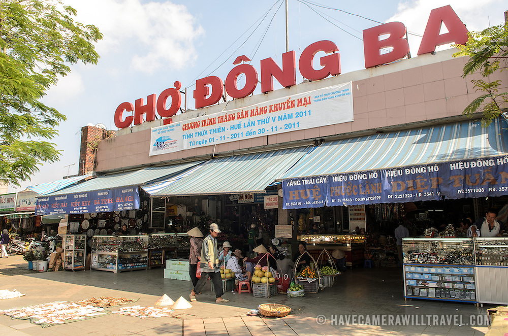Main entrance to Cho Dong Ba, the main city market in Hue, Vietnam.