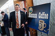 Montana Senator Jon Tester (D) leaves the Montana Coffee.