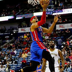 Mar 1, 2017; New Orleans, LA, USA; Detroit Pistons forward Tobias Harris (34) shoots over New Orleans Pelicans forward Solomon Hill (44) during the first quarter of a game at the Smoothie King Center. Mandatory Credit: Derick E. Hingle-USA TODAY Sports