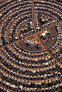 Aerial image of a densely populated housing development, Sun City, Arizona, American Southwest