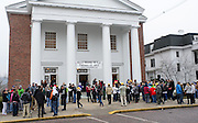"Participants of the 11th annual Good Works WALK for the homeless gather outside of First United Methodist Church on College Street before the walk begins Saturday, February 23, 2013. There were five different walks that participants could choose from: a women in poverty walk, a children in poverty walk, strangers in poverty, a mini-walk, and ""Three days on the streets: a simulated experience"" walk."