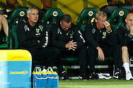 Norwich Manager Paul Lambert and assistant Ian Culverhouse show their despair during the Carling Cup 2nd Round match at Carrow Road Stadium, Norwich, Norfolk...Picture by Paul Chesterton/Focus Images Ltd.  07904 640267.23/8/11