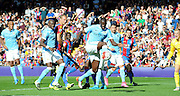 Yaya Toure clears the danger during the Barclays Premier League match between Crystal Palace and Manchester City at Selhurst Park, London, England on 12 September 2015. Photo by Michael Hulf.