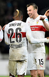 30.12.2015, Mercedes Benz Arena, Stuttgart, GER, 1. FBL, VfB Stuttgart vs Hamburger SV, 19. Runde, im Bild Schlussjubel Jubel nach Spielende Geoffroy Serey Die VfB Stuttgart (links) und Kevin Grosskreutz VfB Stuttgart (rechts) // during the German Bundesliga 19th round match between VfB Stuttgart and Hamburger SV at the Mercedes Benz Arena in Stuttgart, Germany on 2015/12/30. EXPA Pictures © 2016, PhotoCredit: EXPA/ Eibner-Pressefoto/ Weber<br /> <br /> *****ATTENTION - OUT of GER*****